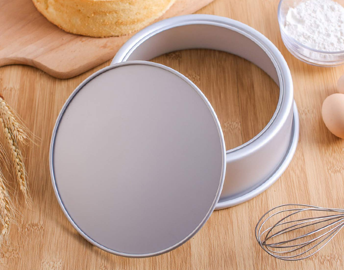 Tosnail 2 Pack 8-Inch Aluminum Round Cake Pan with Removable Bottom by Tosnail