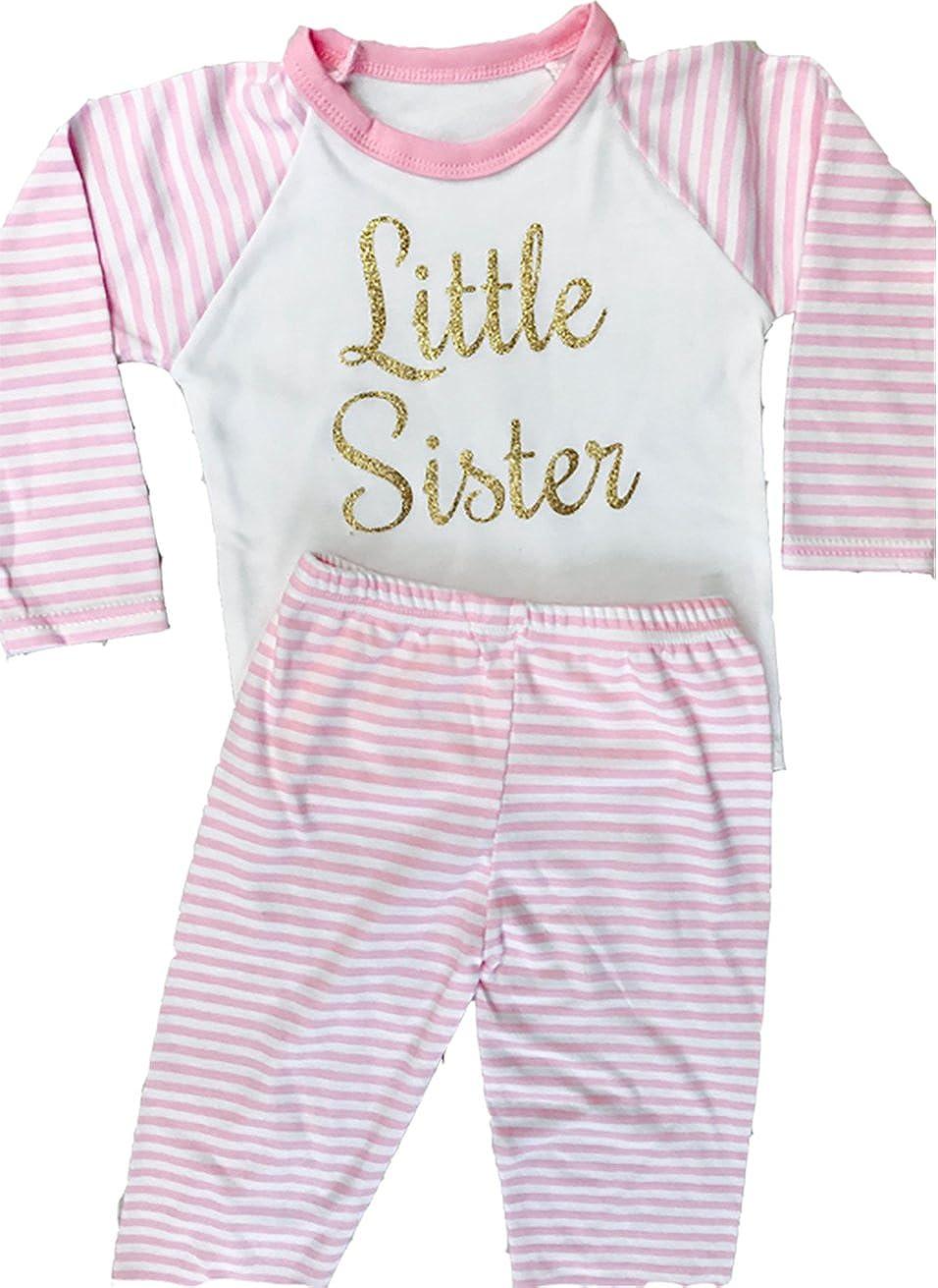 Cosy Newborn Family Love Gift Pesent Sisters Princess Baby Girl/'s Little Sister Pink /& White stripe Pyjama Set TopPants Sleepwear Pjs