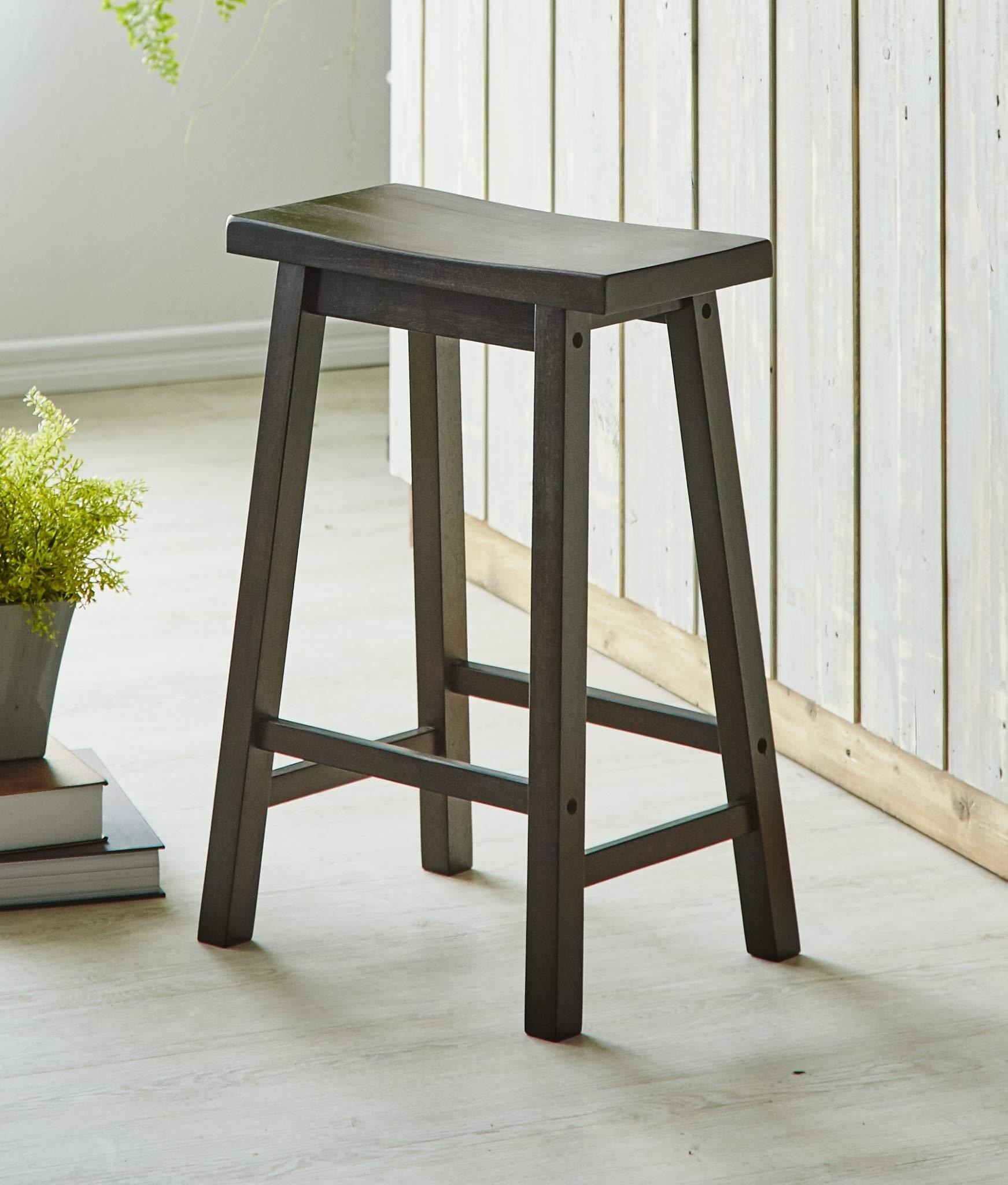 PJ Wood 24-Inch Saddle Seat Counter Stool - Walnut by PJ Wood (Image #2)