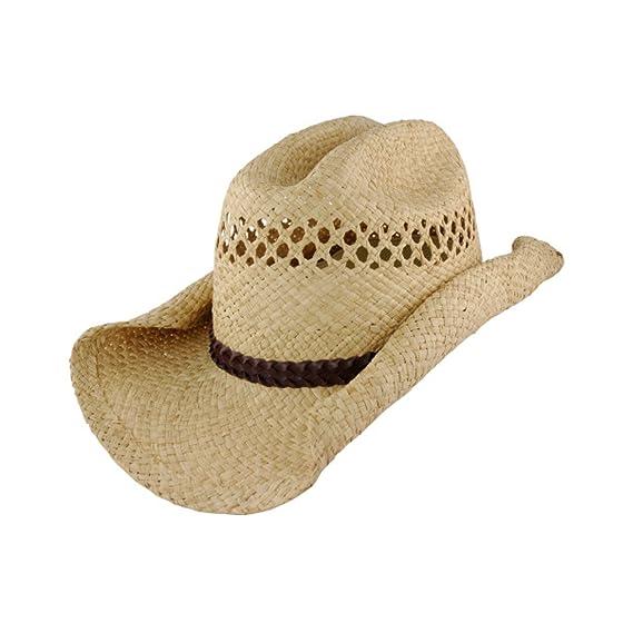 Buy Jacobson Hat Company Childs Raffia Straw Rolled Brim Cowboy Hat ... 58cb5e1566d
