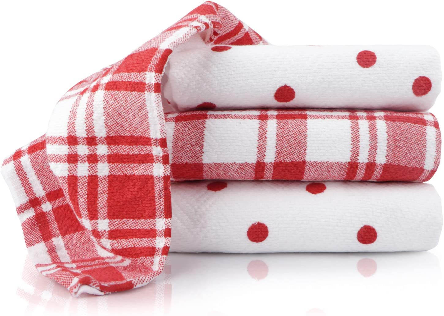 100% Cotton,Red Kitchen Towels Set,Soft and Absorbent Dish Towels,Fast Drying Dish Towels,Tea Towels, Red Check & Pigment, 18 X 28 (4 Pack)