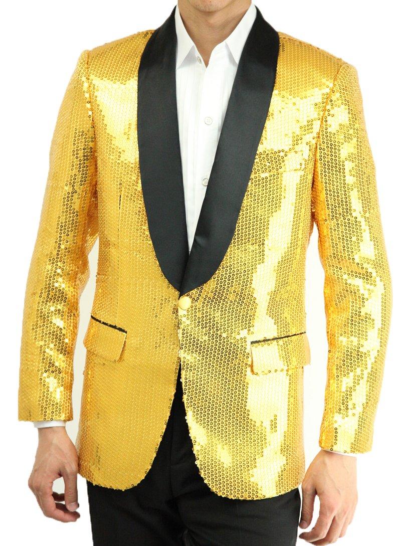 ジャケット スパンコール メンズ 男性 忘年会 新年会 ステージ衣装 ダンス衣装 カラオケ衣装 舞台衣装 発表会 赤黒青紫黄緑金銀の8色 ジャケットのみ 27txd1j B01IGYPSI0 2L|イエロー イエロー 2L