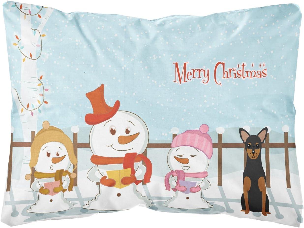 Amazon Com Caroline S Treasures Bb2359pw1216 Merry Christmas Carolers Manchester Terrier Canvas Fabric Decorative Pillow 12h X16w Multicolor Garden Outdoor