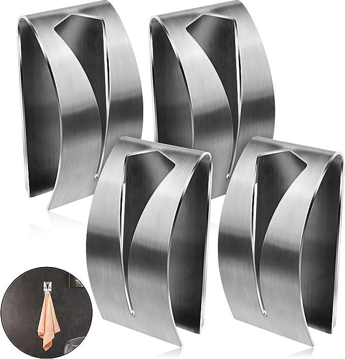 Details about  /4PCS Self Adhesive Bathroom Wall Door Stainless Steel Holder Hook Hanger Hooks