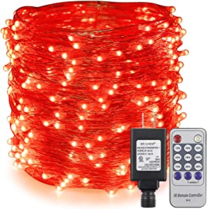 ErChen Adapter Powered Led Starry String Lights, 100FT 30M 300 Led Plug in Dimmable Remote Control Silver Copper Wire Fairy Lights for Wedding Christmas Party Home Decor (Red)