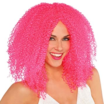 ladies crimped pink wig cool clown jester jesterina harlequin honey harley quinn hen do girls big