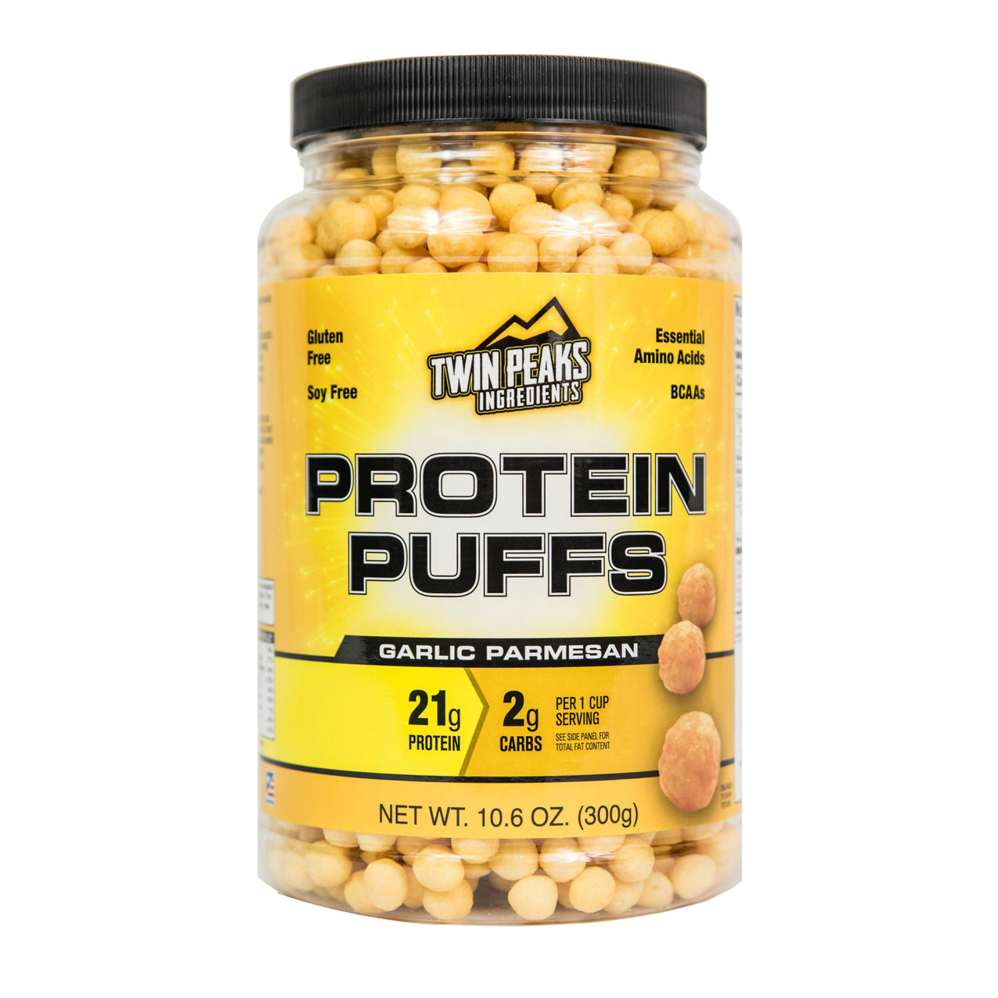 Low Carb Protein Puffs - 21g Protein, 2g Carbs, 130 Cals, Nut Free Baked High Protein Crisps, Keto Friendly, Soy Free, Gluten Free, Potato Free - Best Protein Snack (Garlic Parmesan, 300g/10 Servings)