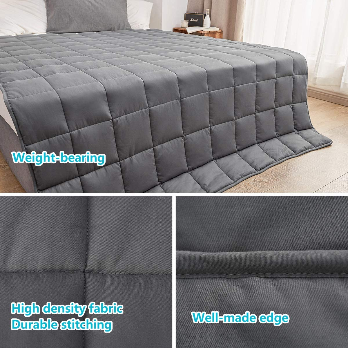 VANZAVANZU Soft Weighted Blanket for Adults 20 lbs for 180-220 lbs Queen Size Weighted Blanket Breathable Cotton Heavy Blanket with Glass Beads for Better Sleep 60x80