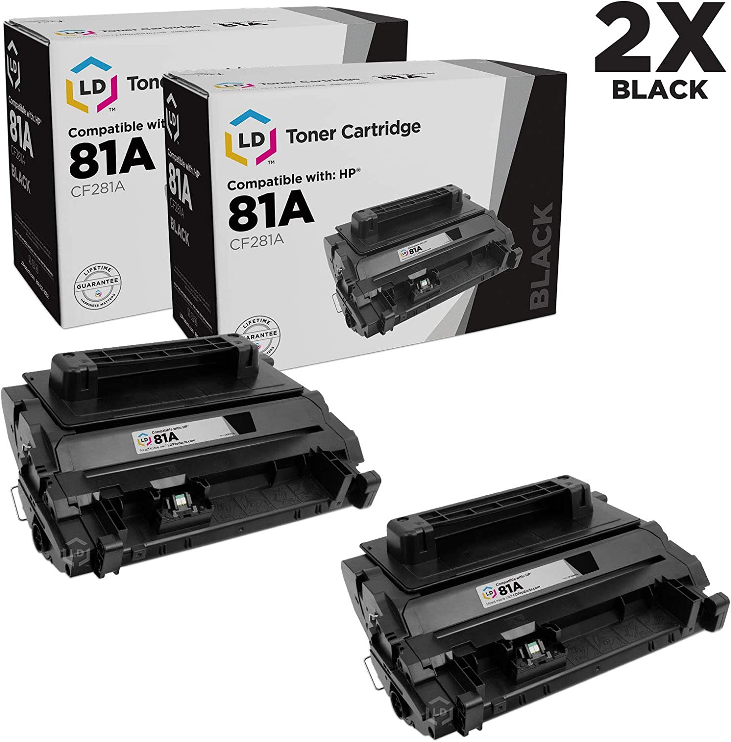 LD Compatible Toner Cartridge Replacement for HP 81A CF281A (Black, 2-Pack)