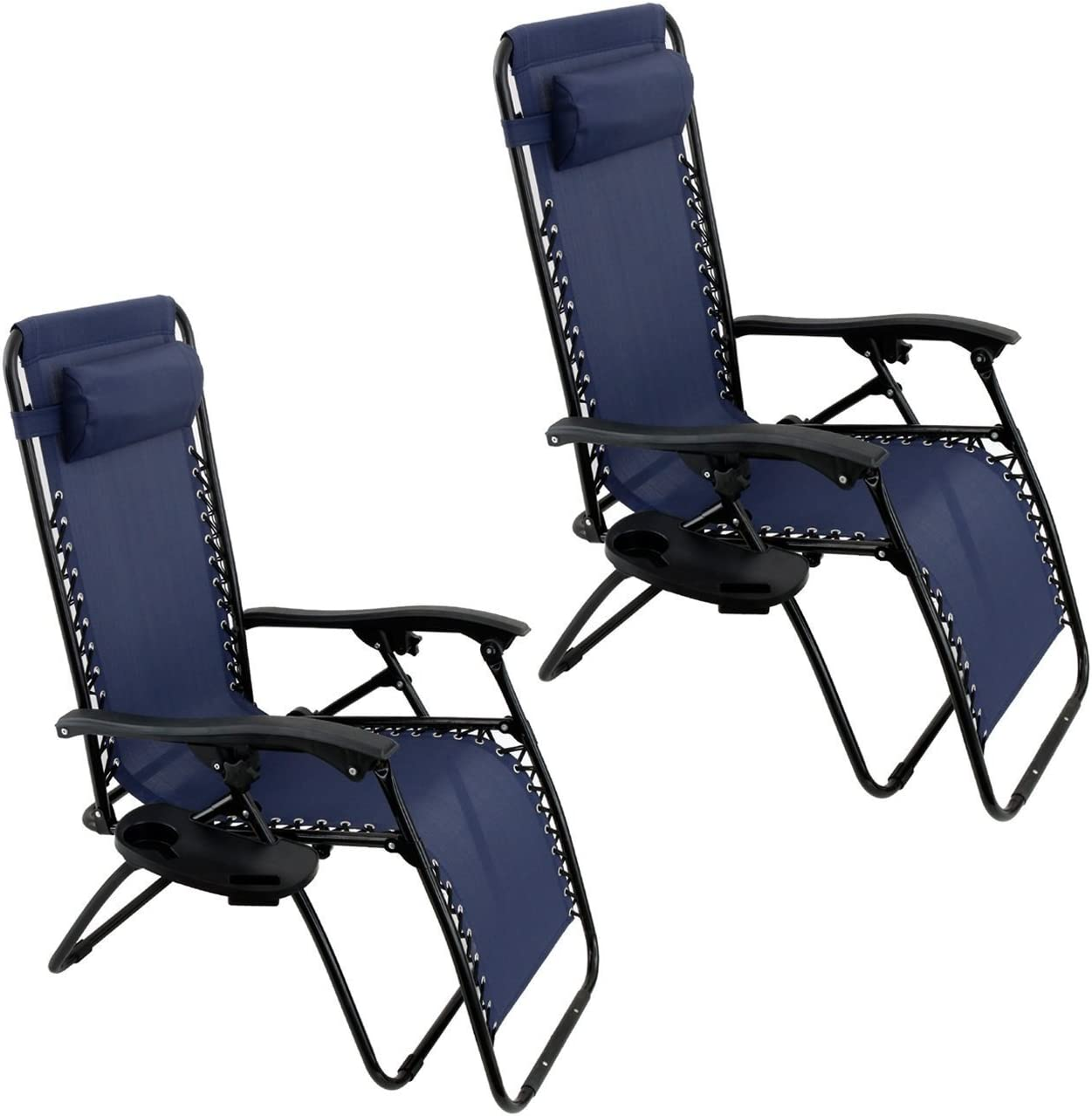 Oshion 1 Pair Zero Gravity Chairs Black Lounge Patio Chairs Outdoor Yard Beach New Blue