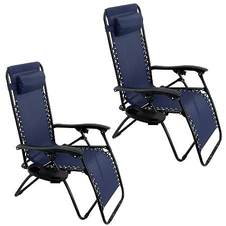Oshion 1 Pair Zero Gravity Chairs Black Lounge Patio Chairs Outdoor Yard Beach New Blue
