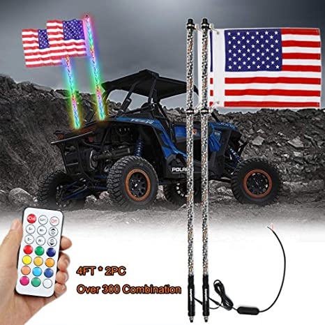 Remote Quick Disconnect Pair Aces Racing 5ft Lighted LED Whip w// American Flag