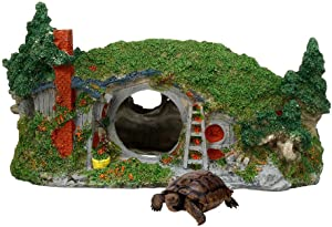Tfwadmx Aquarium Decoration Castle Fish Hideout House Betta Cave with Green Lifelike Moss Fish Tank Ornament Rockery Landscaping 11inL x 8inW x 6.5inH