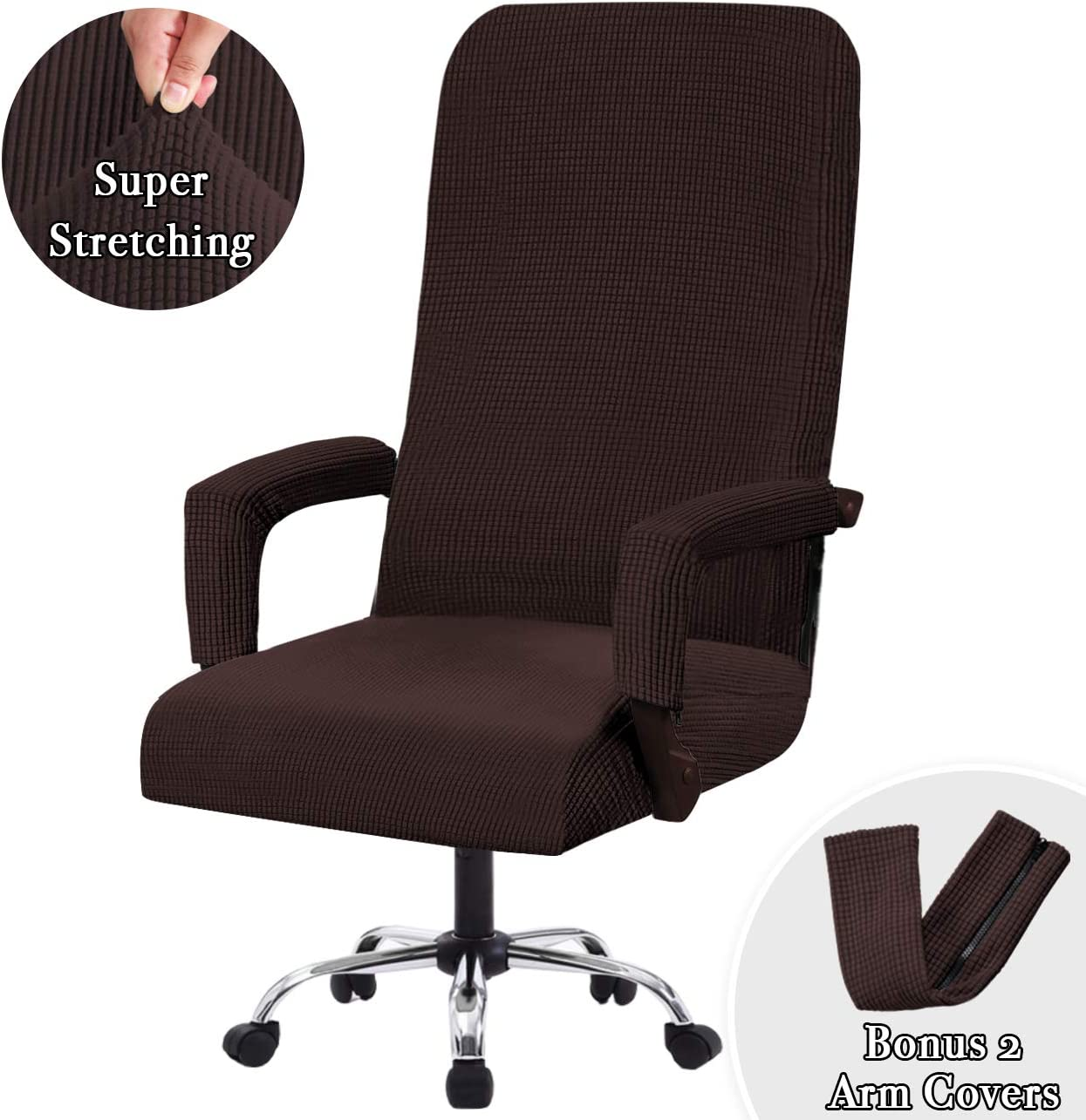 Office Chair Covers High Back Slipcovers Stretch Furniture Cover Lycra Spandex Jacquard Fabric Super Soft, Skid Resistant Office Computer Chair Cover with Arm Covers, Oversized, Brown