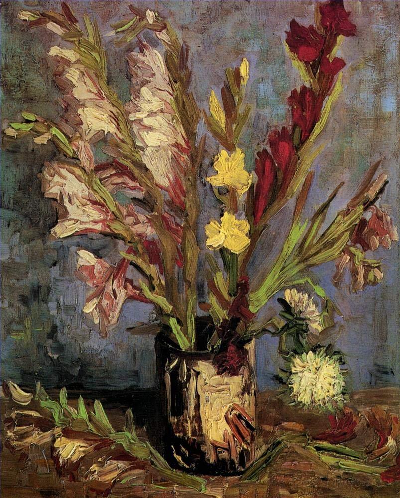 手描き-キャンバスの油絵 - Vase with Gladioli フィンセントファンゴッホ 芸術 作品 洋画 ウォールアートデコレーション VVG2 -サイズ17 B07H7MF53Z  68 x 102 インチ
