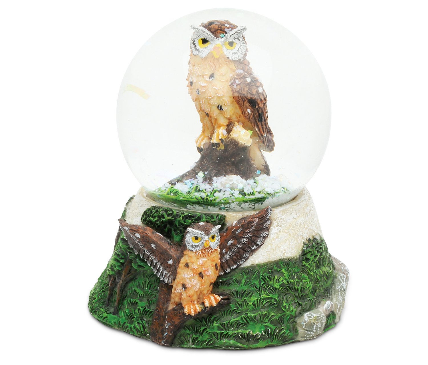 Puzzled Owl Resin Stone Finish Snow Globe - Animals Collection - 65 MM - Unique Elegant Gift and Souvenir - Item #9374