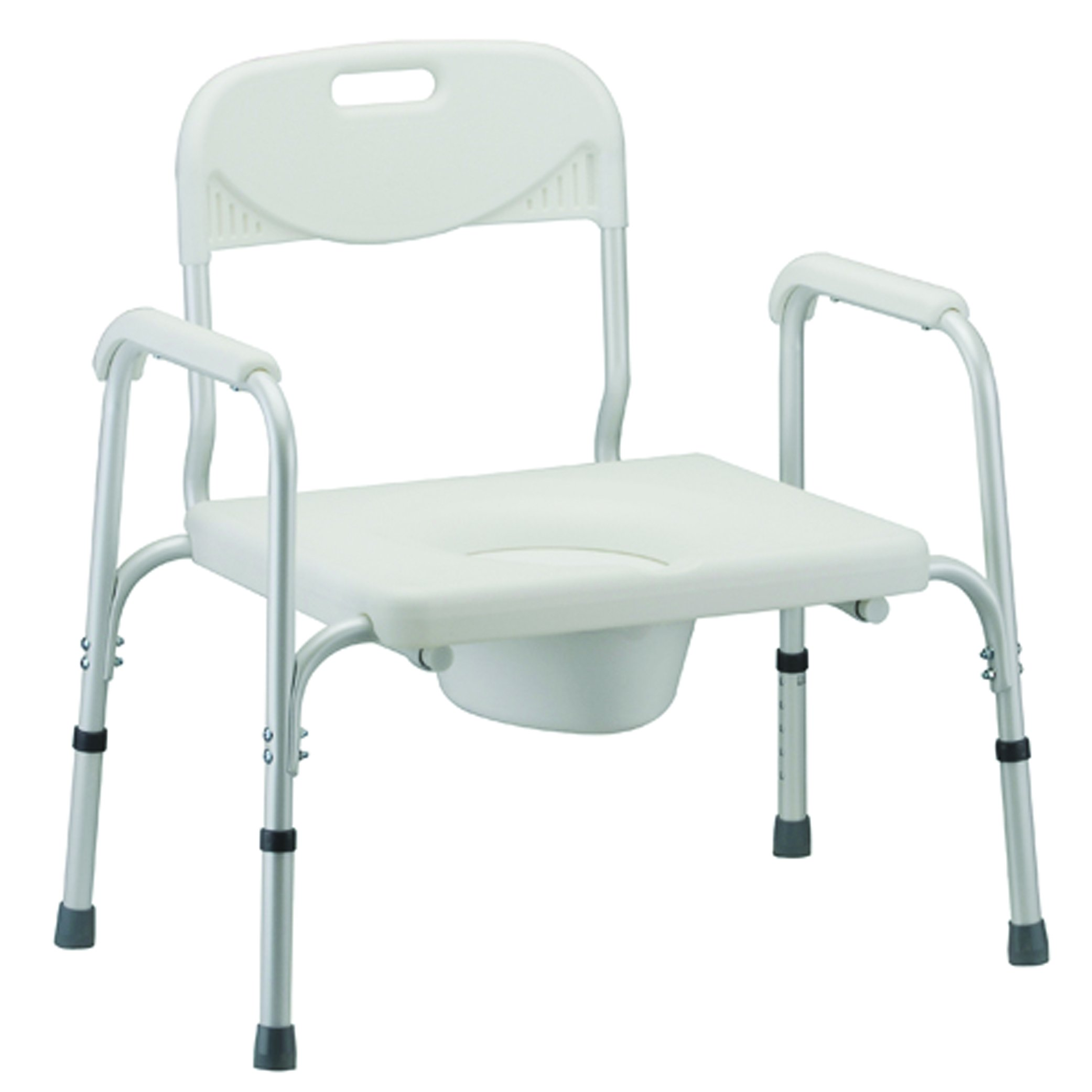 NOVA Medical Products Heavy Duty Commode with Back & Wide Seat, White, 24 Pound