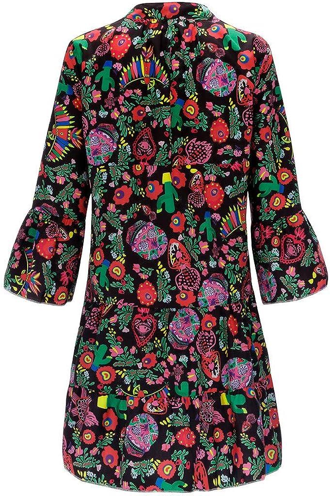 HebeTop Summer Dresses for Women T Shirt Solid Crew Neck Tunics Self-tie Half Sleeves Blouse Mini Dresses