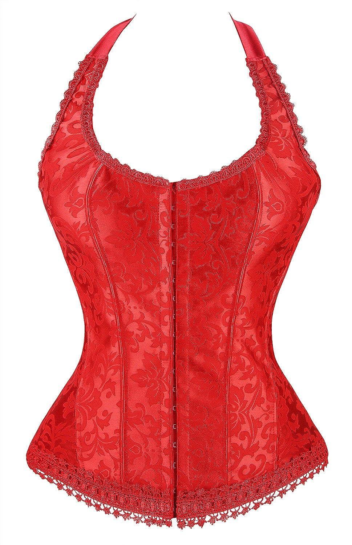 Kimring Women's Fashion Elegant Halter Satin Jacquard Lace Edge Corset
