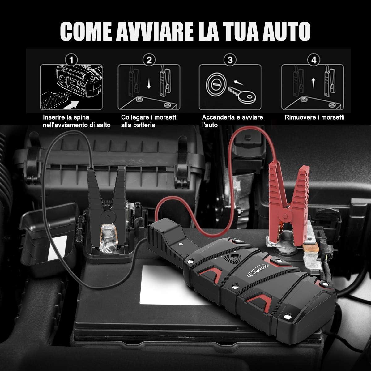 Fino a 7,5L a Benzina o Diesel da 6L Portatile Avviatore Emergenza per Auto//Moto Impermeabile IP68 Power Bank con QC 3.0 YABER Avviatore Batteria Auto 1200A 15000mAh Booster Avviamento Auto