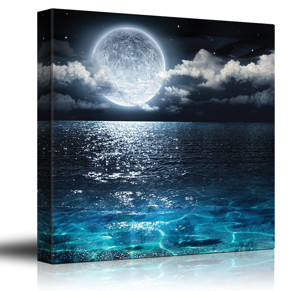 "wall26 - Moon Illuminating The Clear Ocean Blue - Canvas Art Wall Decor -24""x24"""
