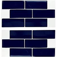 WALPLUS diepblauwe, glanzende 3D-metrotegel, stickertegels 30 x 30 cm, moderne achterwant, muur, mozaïek, zelfklevend…
