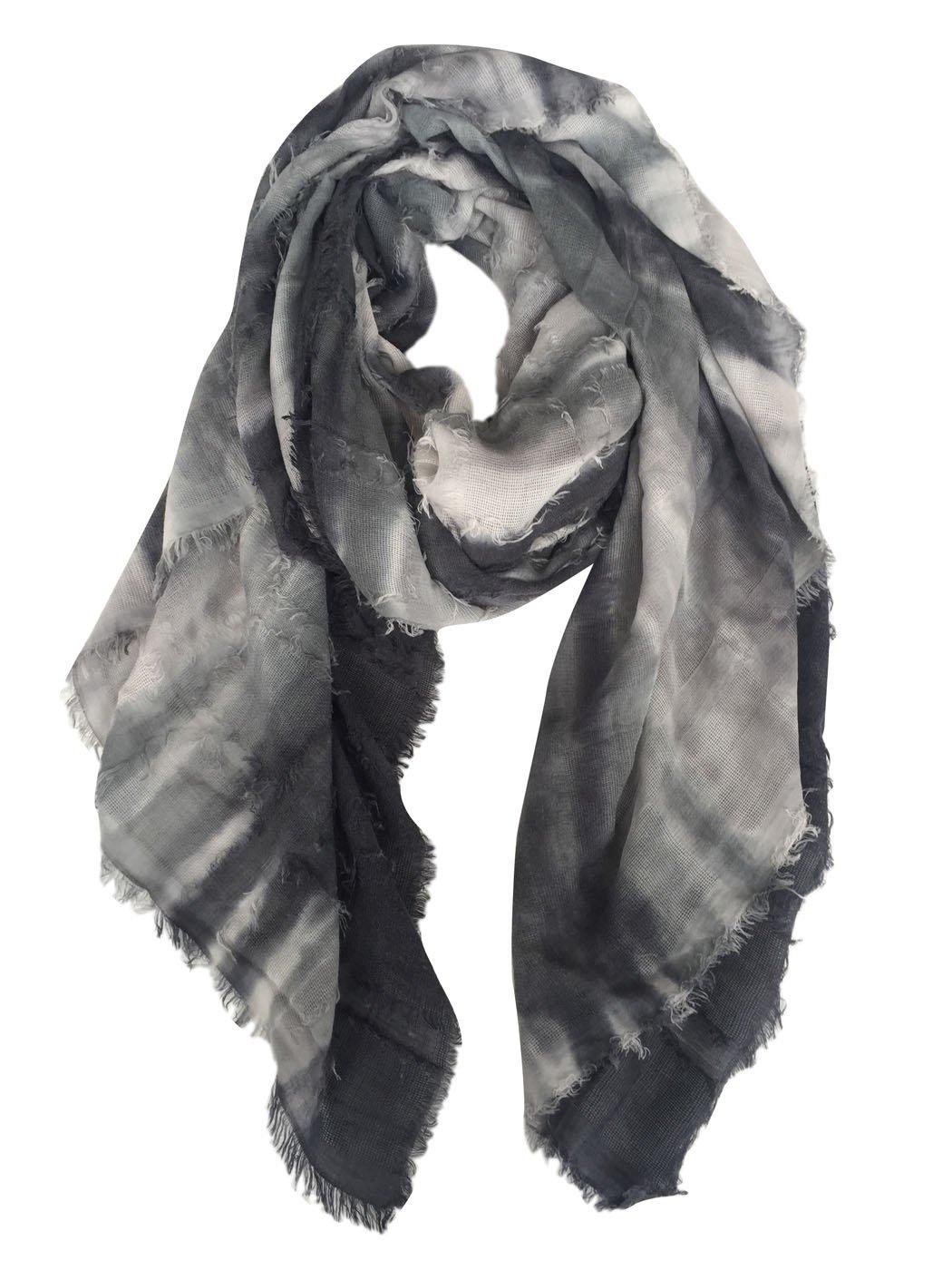 GERINLY Tie-Dye Men Scarves Lightweight Soft Cotton-Linen Scarf (Black Gray) 94c-e9b21de