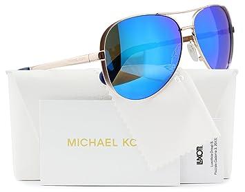 a1c960fcfc Michael Kors MK5004 Chelsea Aviator Sunglasses Rose Gold w Blue Mirror (1003  25