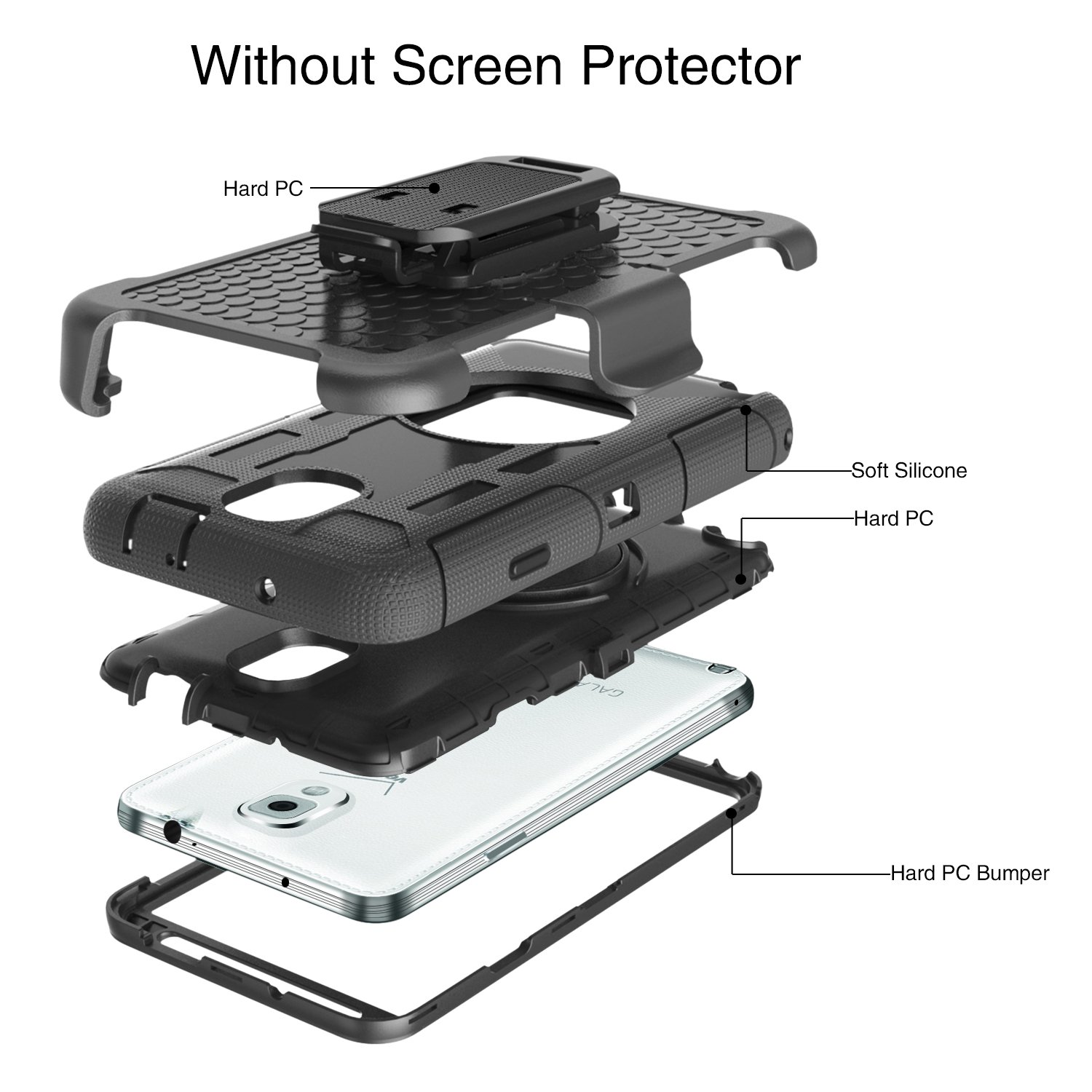 BENTOBEN Samsung Galaxy Note 3 Shockproof Hard Case Cover with Swivel Kickstand Belt Clip Holster Protective Case for Samsung Galaxy Note 3 Note III N9000 All Carriers Black