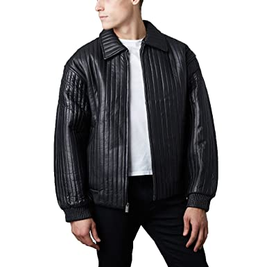 Tanners Avenue Mens Black Genuine Leather Quilted Bomber Jacket At