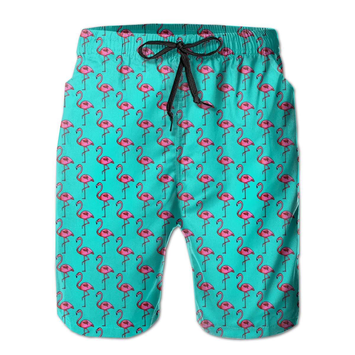 Mens Funny Flamingo Comfortable Quick Dry Swim Trunks Elastic Drawstring Cargo Shorts with Pocket