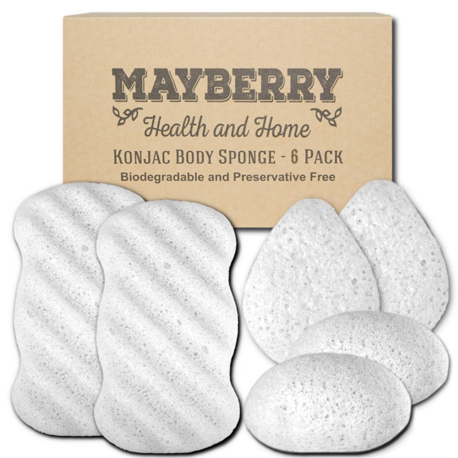 Konjac Body Sponge (6 Pack) Individually Wrapped Multi-Pack Pure (White) Konjac Sponges Offer a Gentle Cleansing Experience for Softer Skin by Mayberry Health and Home