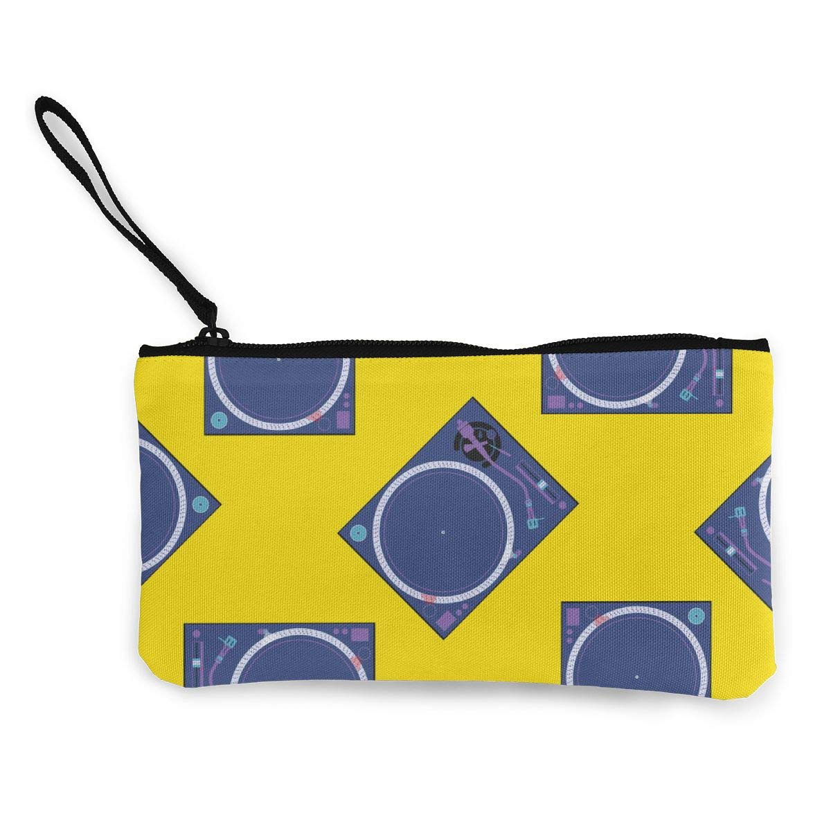 Vinyl Turntable Pop Art Pattern Canvas Change Coin Purse Assorted Wallet Bag with Zip