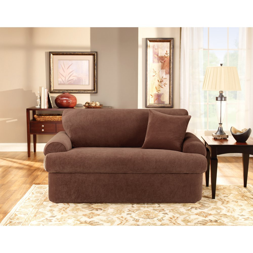 Sure Fit Stretch Pique T-Cushion Two Piece Loveseat Slipcover