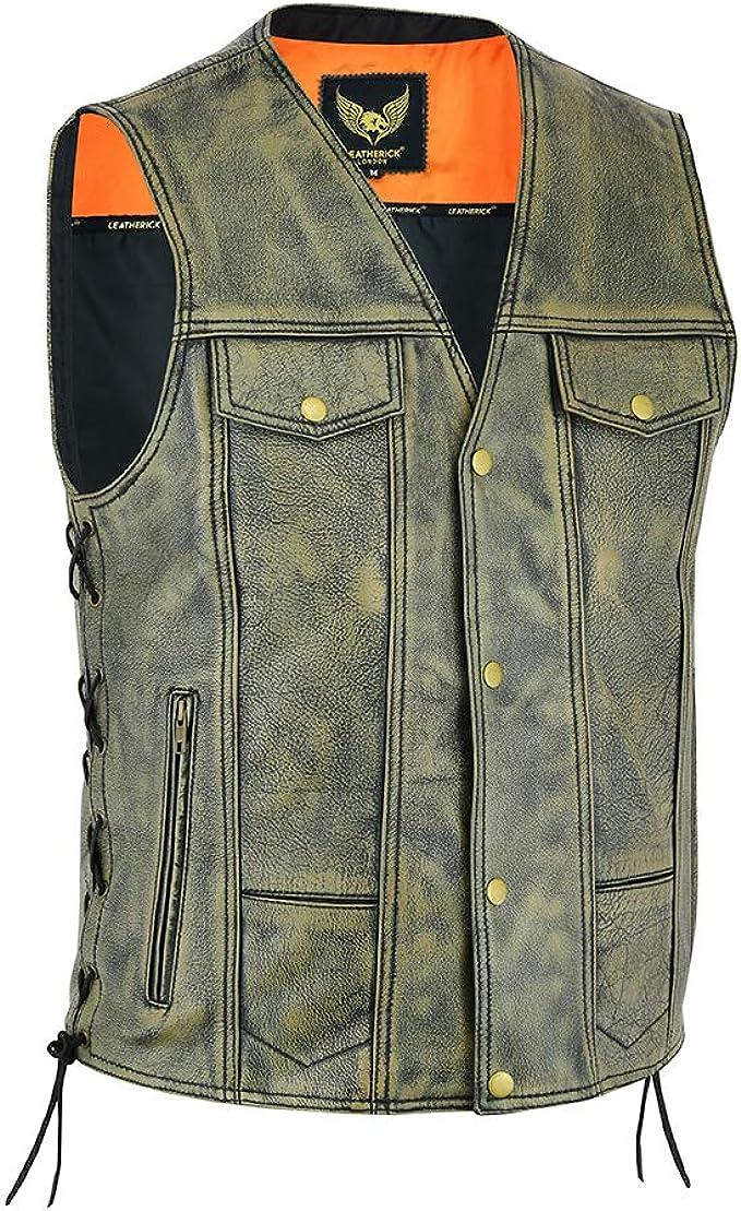Leatherick Herren Weste Mit 12 Taschen Aus Genarbtem Rindsleder Vintage Bikerlederweste Mit Pistolentaschen Auto