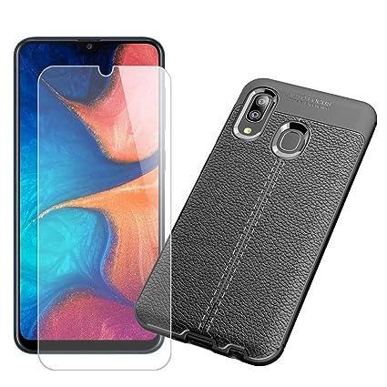 QFSM Black Funda + Cristal Templado para Samsung Galaxy A20 Shell Silicona Carcasa Suave TPU Case Cover, 9H Dureza Duradera Protectora Pantalla Glass ...