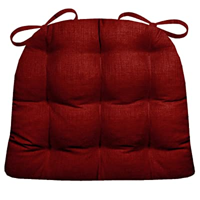 Barnett Products Indoor/Outdoor Chair Pad - Rave Scarlet Red Solid Color Woven Fabric - Mildew Resistant, Fade Resistant - Reversible, Latex Foam Fill - Small Patio Chair Cushion: Home & Kitchen