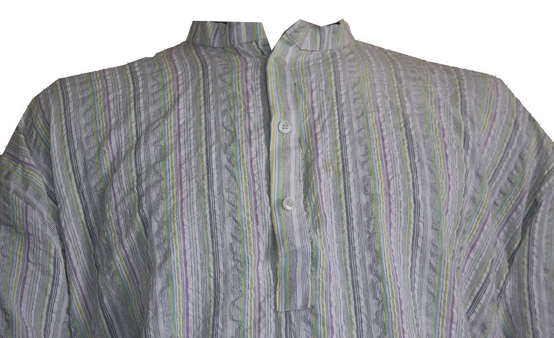 Lakkar Haveli Indian Strip Print Kurta 100/% Cotton Loose fit Strip Print Grey Color Man/'s Shirt Plus Size