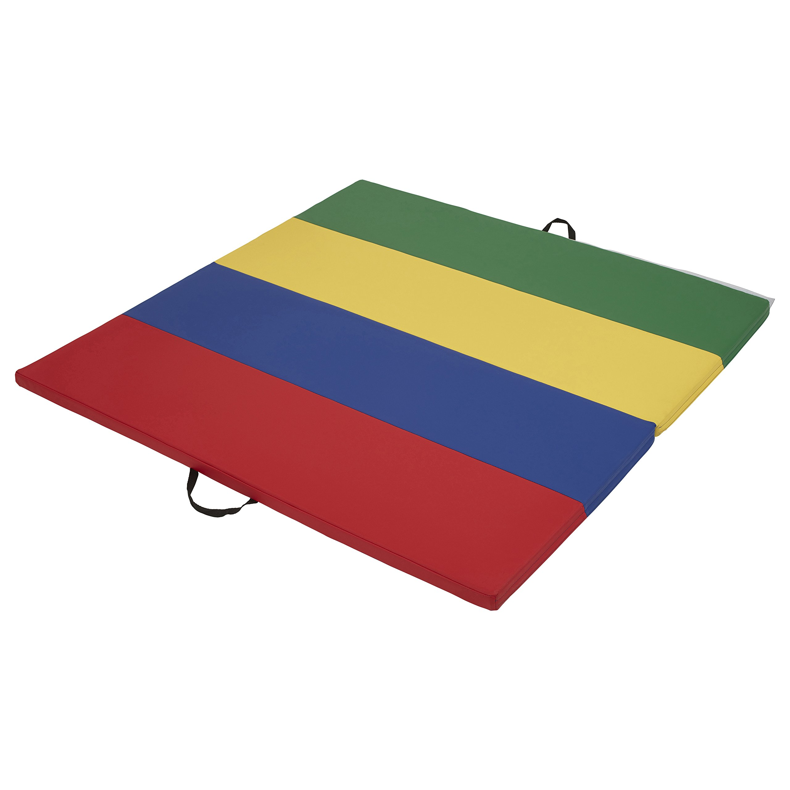 ECR4Kids SoftZone Folding Kids Tumbling Exercise Mat, 4 x 4 Feet, 1.5 Inches Thick, Assorted