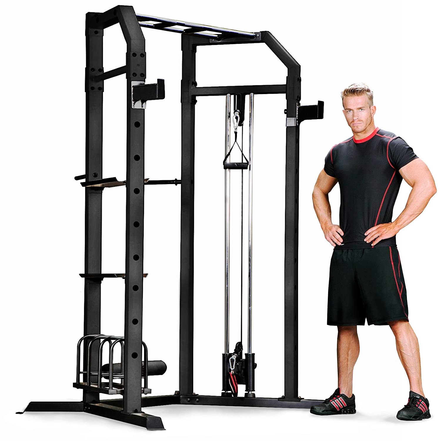 Amazon.com: Marcy Olympic Multi-purpose Strength Training Cage with Pull Up  Bars/Adjustable Bar Catchers and Pulley SM-3551: Sports & Outdoors