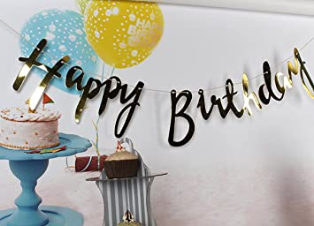 amfin happy birthday banner with name for birthday party gold