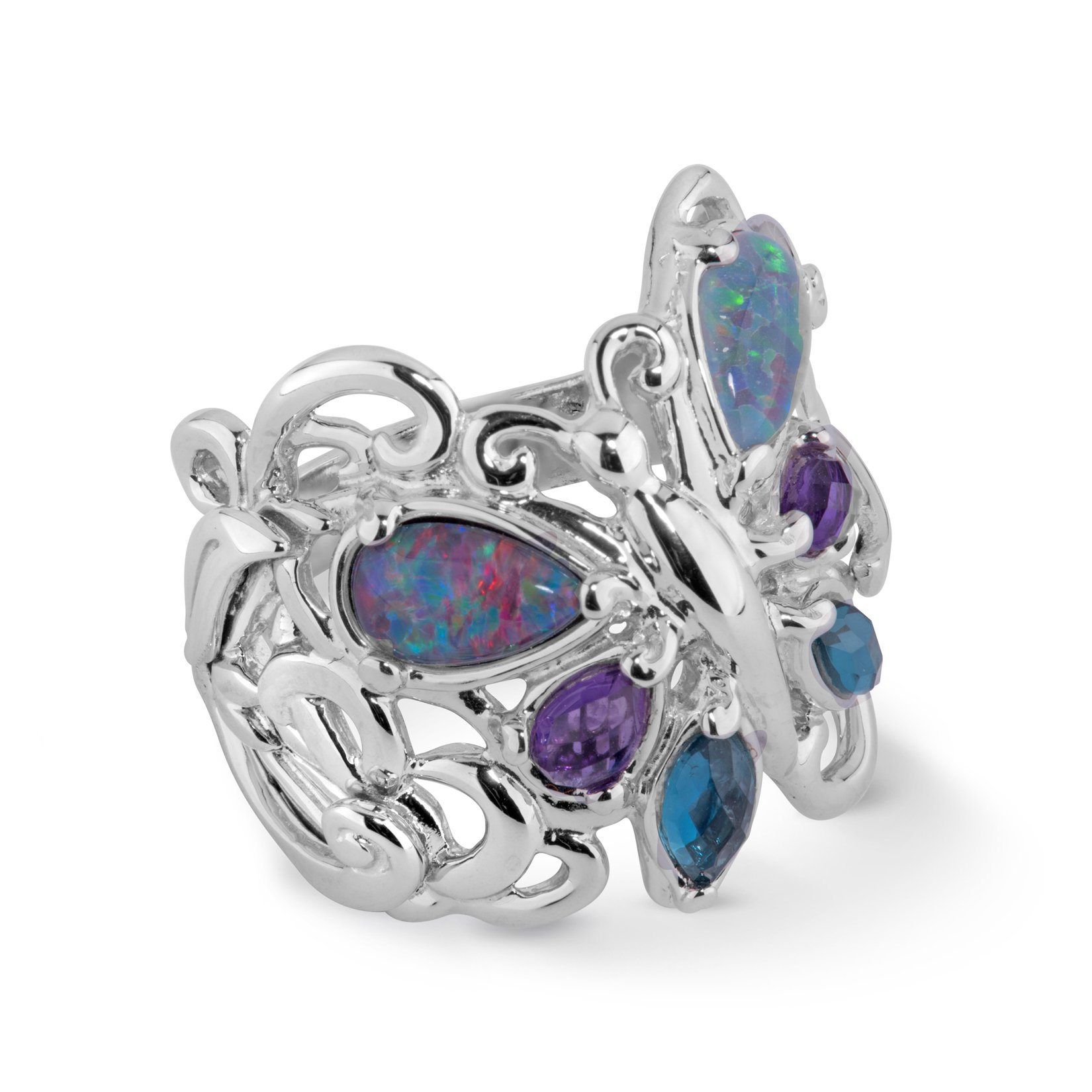 Carolyn Pollack Sterling Silver & Multi Gemstone Butterfly Ring