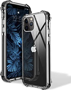 MATEPROX 11 Pro Max Case Clear Heavy Duty Protective Crystal Back Cover with Shockproof Bumper Case for iPhone 11 Pro Max 6.5 inch(Black)