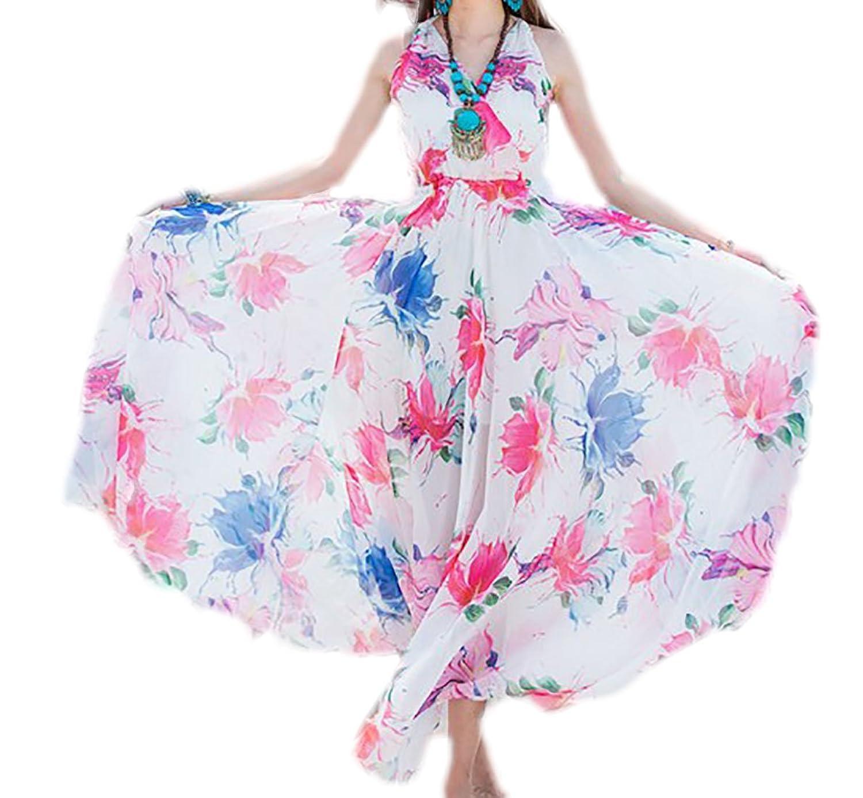 erdbeerloft - Damen Schleierkleid mit Blumenprint und V-Ausschnitt, XS-L, Viele Farben