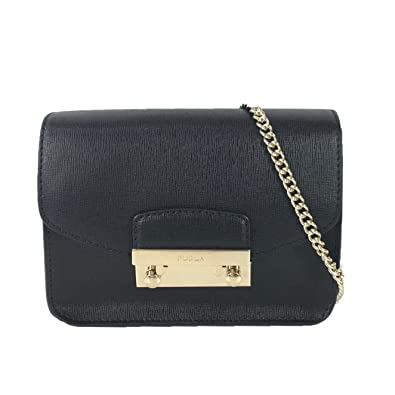 20d18b3917c2cb Amazon.com: Furla Julia Saffiano Leather Mini Crossbody Bag, Onyx/Gold:  Shoes
