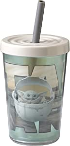 Zak Designs Star Wars The Mandalorian Double Wall Tumbler with Lid and Straw Made of Break-Resistant Plastic (The Child, 13oz, BPA Free)