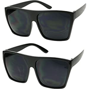 Amazon.com: Large Retro Style Square Aviator Flat Top ...