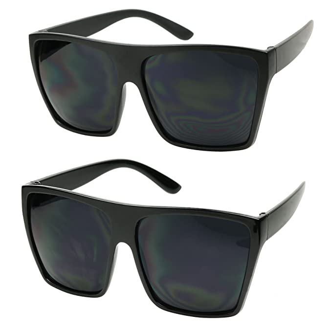 3e41b8abed Color  ShadyVEU - Big XL Large Square Trapezoid Shape Oversized Fashion  Sunglasses (2-PK (