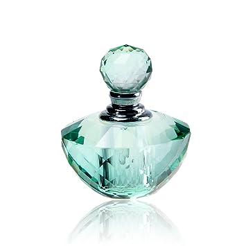 H y D Vintage Verde claro cristal vacío recargable Mini botella de Perfume