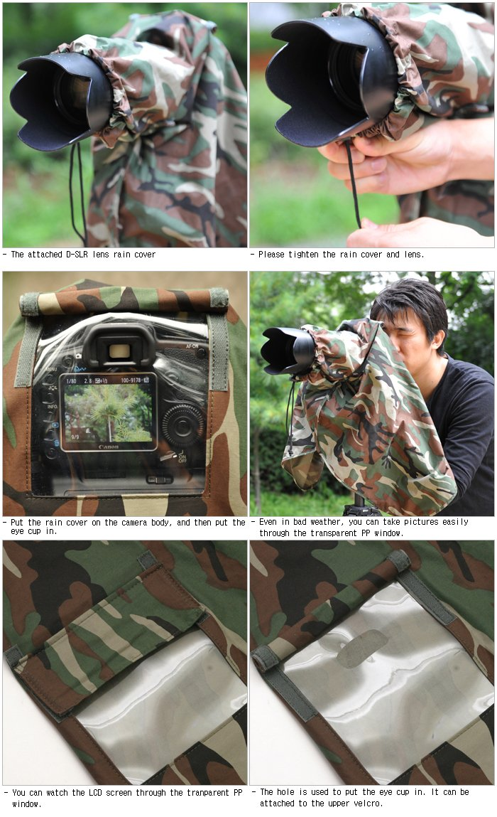 Matin Digital SLR Camera Rain Cover Camouflage - Large